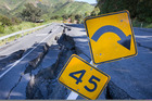 SH1 toward Kaikoura from the south is a wild ride over cracked seal and gaping holes. Photo / File