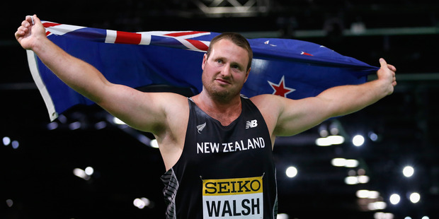 Tom Walsh celebrates winning gold at the IAAF World Indoor Championships. Photo / Getty Images