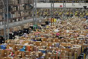 Parcels are processed and prepared for dispatch at a Amazon fulfillment centre. Photo / Getty
