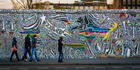The East Side Gallery, a 13km section of the Berlin Wall, Germany.