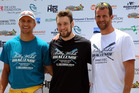 The Top 3 of the men's elite race - New Zealand's Jordan Parry, Germany's Tim Ole Naske, and Croatia's Damir Martin.