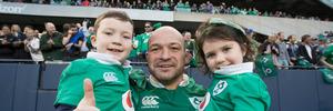 Ireland's captain Rory Best with his children celebrate their win against the All Blacks. Photo / Brett Phibbs