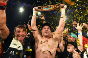 New Zealand heavyweight boxer Joseph Parker celebrates his win over Andy Ruiz Jr. Photosport