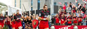 Sam Whitelock of the Crusaders leads the team onto the field. Photosport