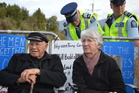 Acclaimed author Dame Fiona Kidman at the the Pike River Mine protest with her husband Ian on December 2. Photo / Greymouth Star