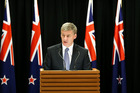 Prime Minister Bill English speaks to media during a press conference at Parliament yesterday. Photo / Getty Images