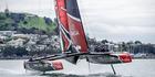 Emirates Team New Zealand boat 1 sailing and testing on Auckland's Hauraki Gulf. Photo / Hamish Hooper