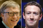 Bill Gates (far left) and Mark Zuckerberg know how to give. Photos / AP