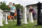Rotorua Youth Centre youth co-ordinators Alan Solomon and Veena Kameta get ready for tomorrow's fun. Photo / Stephen Parker