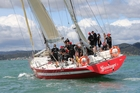 The maxi ketch Steinlager II, famously skippered by the late Sir Peter Blake in the Whitbread Round the World Race, on its way to victory in the Pacific Cup last Thursday. Photo / Peter de Graaf