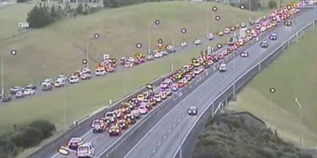 The crash citybound on the Northern Motorway prior to the Greville off-ramp is now clear. Photo / NZTA