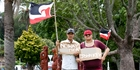 Waiariki Te Kaawa and Moewaka Biddle walked from Merivale to Tauranga CBD to show their opposition to New Zealand signing the TPP deal. Photo / Ruth Keber