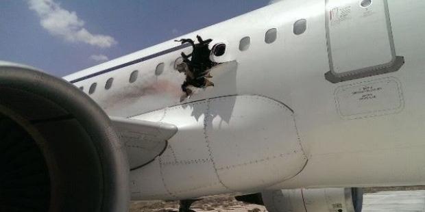The plane managed to safely land at Mogadishu's international airport. Photo / VOA