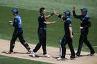 Trent Boult celebrates his wicket of Shoaib Malik. Photo / Photosport