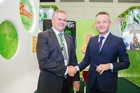 WORKING TOGETHER: Zespri chairman Peter McBride (left) and T&G Global chairman Professor Klaus Josef (right) in Berlin. PICTURE/SUPPLIED