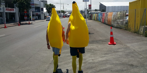 Two fans in costume walk towards the Laneway Music Festival in Auckland.