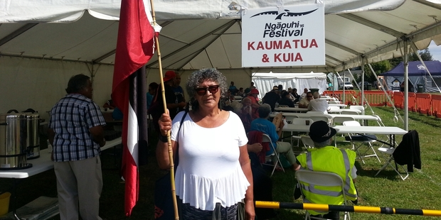EVICTED: Te Tomo Nahi, 70, alleges she was told to leave the tent reserved for kaumatua and kuia at the Ngapuhi Festival by Sonny Tau, former chairman of the Ngapuhi Festival, because of a rolled up tino rangatiratanga flag she had. PHOTO/SUPPLIED