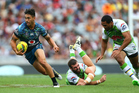 Warriors halfback Shaun Johnson makes a break against the Canberra Raiders in the 2015 NRL Auckland Nines. Photo/Getty