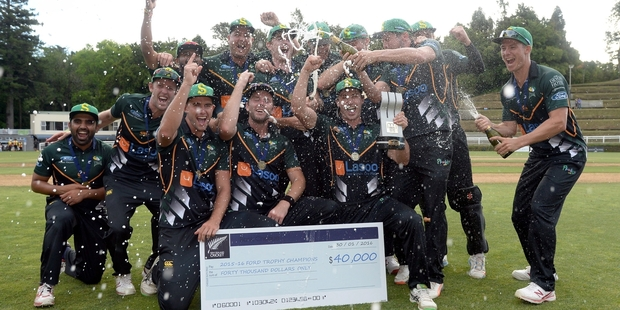 A jubilant Central Districts side celebrate winning the Ford Trophy. Photo / Photosport