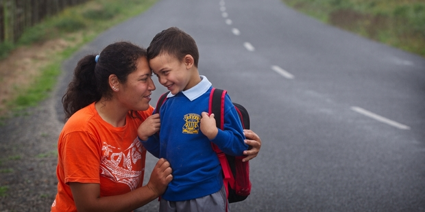 This Thursday will be the first day of school for a 5-year-old Tui Stokes-Kaukau, pictured with mum Rhonda Stokes. Photo / Stephen Parker