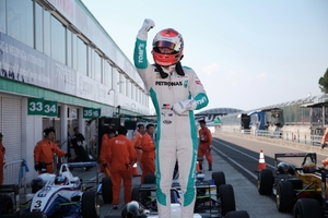 Nick Cassidy celebrates after winning the Japanese F3 championship last year.