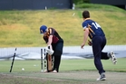 Bay of Plenty strike bowler Donovan Deeble knocks over a Waikato Valley batsman in Sunday's win at Bay Oval. Photo / George Novak