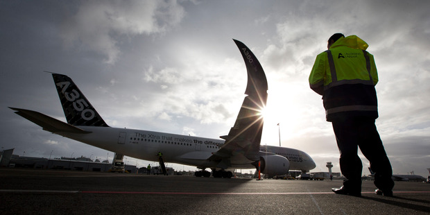 The Airbus A350 XWB test aircraft during its stopover at Auckland International Airport. Photo / Brett Phibbs