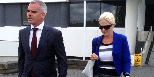 Tessa Fiona Grant leaves the Hamilton District Court with her lawyer Guyon Foley. Photo / Belinda Feek