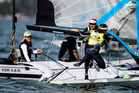 Molly Meech and Alex Maloney celebrate their win in the Sailing World Cup Miami. Picture / Sailing Energy