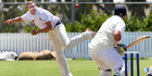 IN FLIGHT: Kaipara bowler Luke Beaven bowls to City's Harry Darkins during day two of the Oxford Trust Two Day Competition's third round. Photo/ Tania Whyte