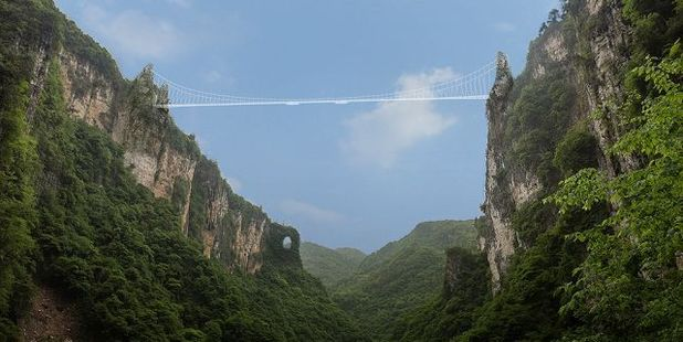 The bridge (artist impression) stretches over 430 metres between two cliffs. Photo / haimdotan.com