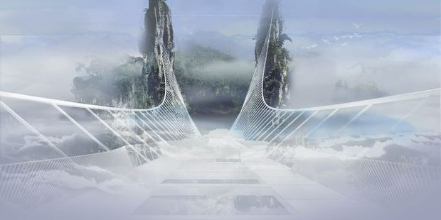 The bridge (artist impression) is designed to disappear into the clouds. Photo / haimdotan.com