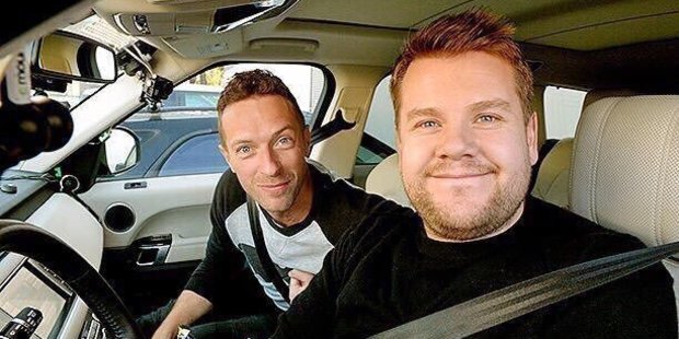 Coldplay singer Chris Martin joins James Corden on a musical road trip. Photo / Twitter