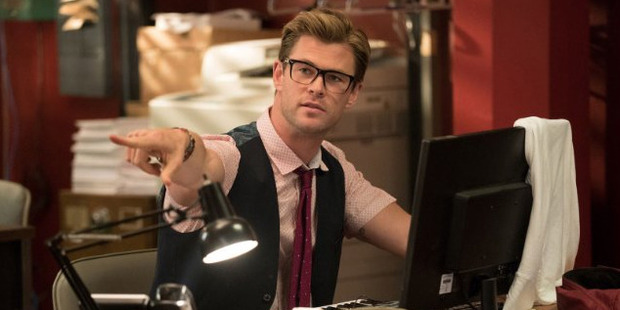 Chris Hemsworth in the upcoming Ghostbusters movies. Photo / Columbia Pictures