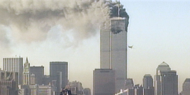 The hijacked United Airlines flight 175 is flown into the south tower of the World Trade Centre. Photo / Getty Images