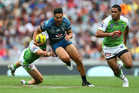 Warriors captain Shaun Johnson makes a break against the Canberra Raiders in the 2015 Auckland Nines. Photo/Getty.
