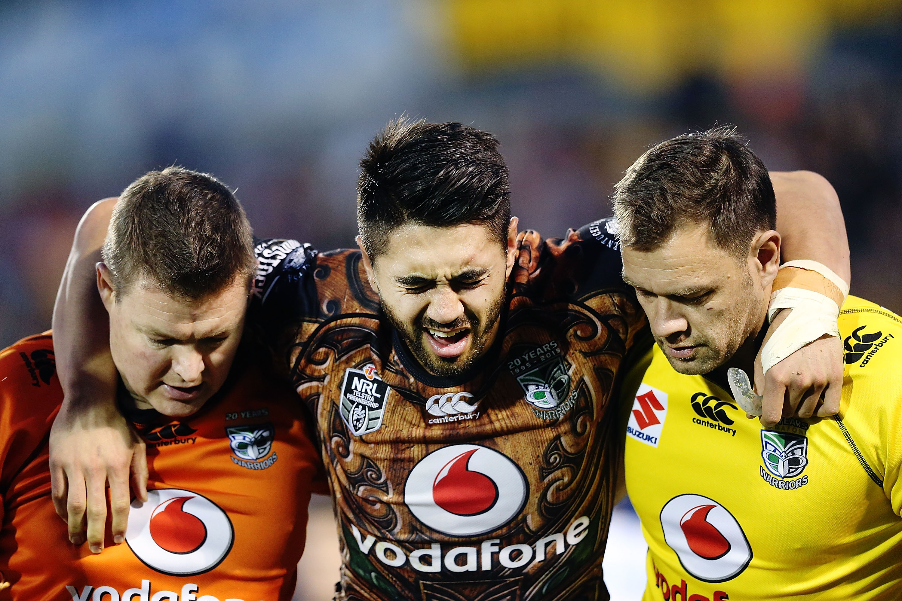 Warriors halfback Shaun Johnson is helped from the field after breaking his ankle against Manly last July. Photo/Getty