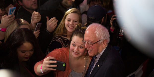 Bernie Sanders was the real MVP on the night, proving his engagement with youth and grassroots campaigning worked. Photo / Getty