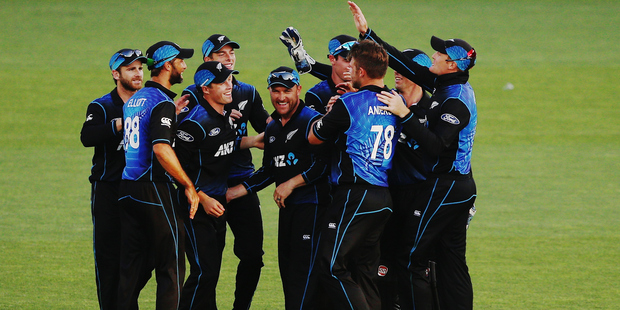 The Black Caps celebrate the wicket of Matthew Wade during the first ODI against Australia. Photo / Getty