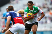 Alex Johnston of the Rabbitohs makes a break against the Sydney Roosters during the 2016 Auckland Nines. Photo / Getty Images