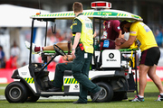 Jake Trbojevic is taken off the field on a stretcher following a hit-up from Konrad Hurrell. Photo / Getty