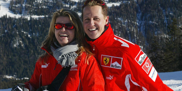 Schumacher with his wife Corinna in the winter resort of Madonna di Campiglio, in Italy. Photo / Getty Images