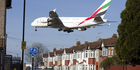 An Emirates Airbus A380 aircraft coming into land at Heathrow Airport. There was a 5pc increase in European air traffic last year. Photo / Justin Tallis/ AFP Getty Images