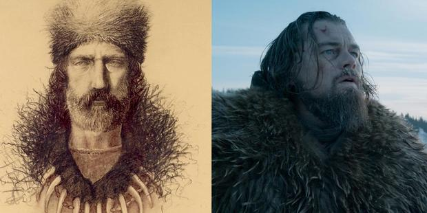 The original fur trapper Hugh Glass, left,  in 1830, and as portrayed by Leonardo DiCaprio in The Revenant. Photo / Supplied