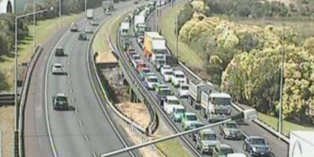 Southbound traffic came to a stand still near Drury. Photo / supplied
