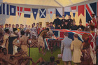 Marcus King The Signing of the Treaty of Waitangi 1938 oil on canvas. Photo / Alexander Turnbull Library