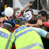 Protestors clash with police at The Hobson Street entrance to The Motorway. Photo / Doug Sherring