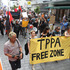 Protesters at the entrance of the SkyCity Convention Centre ahead of the signing of the TPP agreement. Photo / Greg Bowker