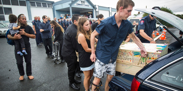 Hundreds of people turned out for the funeral in Dargaville yesterday. Photo / Jason Oxenham