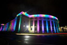 The Auckland War Memorial Museum was lit up in pride colours to celebrate Auckland Pride Festival. Photo / Nick Reed